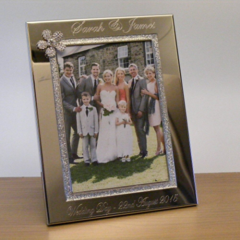 Crystal Flower Photo Frame 7x5 Personalised Wedding Gift